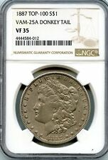 C8301- 1887 VAM-25A DONKEY TAIL TOP 100 MORGAN DOLLAR NGC VF35