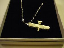 """Wright Flyer Code c81 Aeroplane On a 24"""" Silver Plated Curb Chain Necklace"""