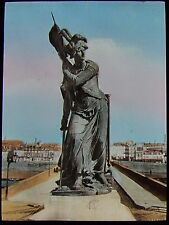 Glass Magic Lantern Slide ORLEANS JOAN OF ARC STATUE C1900 PHOTO FRANCE