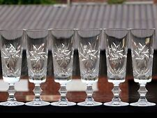 BOHEMIA VINTAGE CRYSTAL CUT GLASS PINWHEEL PATTERN CHAMPAGNE FLUTE SET OF 6