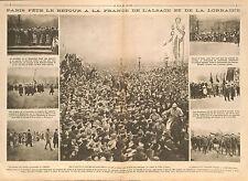 Paris Place de la Concorde Président Poincaré Alsace Lorraine Joffre  1918 WWI