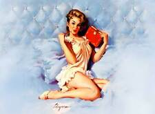 "VINTAGE PINUP GIRL Gil ELVGREN XL CANVAS PRINT Sexy girl in bed pen 24""X 36"""