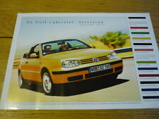 "VOLKSWAGEN GOLF CABRIOLET "" SELECTION "" BROCHURE  jm"