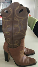 Authentic Dsquared brown leather boots 38 embroidered with side zip