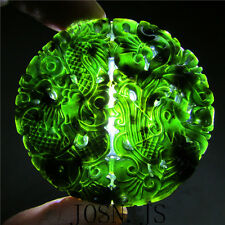Natural chinese black green jade pendant dragon phoenix hand-carved Jadeite