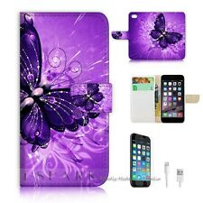 iPhone 6 (4.7') Flip Wallet Case Cover! S8184 Purple Butterfly