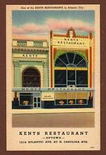 ATLANTIC CITY*NJ*KENT'S RESTAURANTS*ADVERTISING POSTCARD*UNUSED*TICHNOR BROS