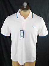AUTH Fred Perry Men Pink Twin Tipped Polo Shirt XS