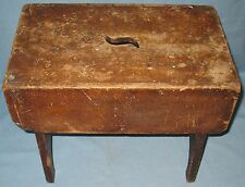 ANTIQUE PRIMITIVE PINE CHESTNUT COUNTRY STOOL BENCH PLANT STAND ORIGINAL FINISH