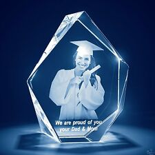 Christmas 3D Laser Crystal Glass Personalized Etched Engrave Gift Large Prestige