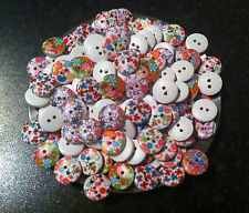 x50 Vintage Wooden BUTTONS - shabby chic FLOWER print  -Mixed colours 15 mm