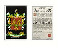 JONES Family Heraldic Mount Coat of Arms Crest and History
