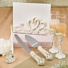 Vintage Double Heart Wedding Accessories Set Guest book Toasting flutes Pen Set
