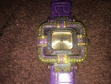 Ladies Heidi Days Multi Color Rhinestone Watch With Purple Leather Band!