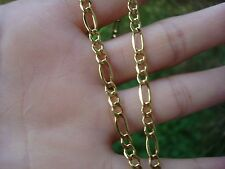"""14K Yellow Gold 4mm Figaro Necklace Chain 20""""  Made in ITALY"""