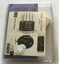 Stampin' Up! Birthday Whimsy Set Of 5 Unmounted Rubber Stamps Cake Balloon Gift