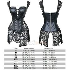 Black Women's Boned Waitst Training Overbust Lace up Corset Bustier Top TB