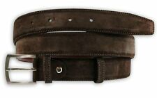 Italian Plain Brown Leather Belt - Real Suede Mens Sizes 32-42 (2028-R)