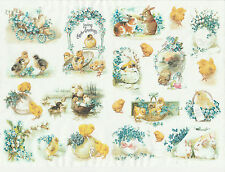 Ricepaper for Decoupage Decopatch Scrapbook Craft Vintage Easter Greetings Small