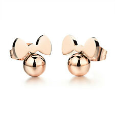 CUTE BOWKNOT BEADS ROSE GOLD GP SURGICAL STAINLESS STEEL STUD EARRINGS