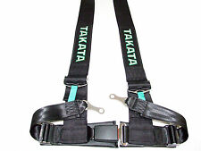 "Takata DRIFT III 4 Point Bolt-On 3"" Racing Seat Belt Harness (Black)"