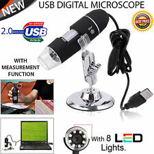 USB Microscope Endoscope 50-500X 8LED Digital Magnifier Camera Black UK Stock