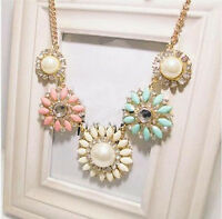 Vintage Flower Statement Bib Chunky Collar Party Jewelry Pendant Chain Necklace