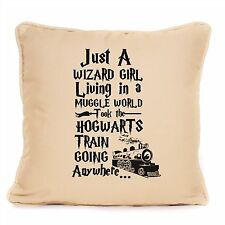 Harry Potter Just A Wizard Girl Muggle World Large Cushion Hogwarts Gift Idea