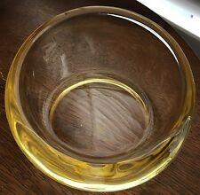 "Vintage Round Lt Amber Yellow Gold Glass Cigar Ashtray Heavy Retro 6"" Ashtray"