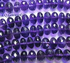 """AA 10"""" Grape AMETHYST 9.5mm Faceted Rondelle Beads"""