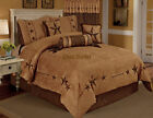 Embroidery Brown Texas Star Western Cowboy Luxury Comforter Suede - 7 Pieces Set