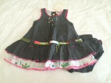 CATIMINI Baby Girls 3m DENIM RUFFLE DRESS W/MATCHING BLOOMERS - NWT