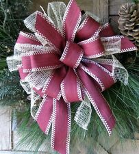 BURGUNDY BOW use on GRAPEVINE FLORAL DOOR WREATH LANTERN GARLAND BASKET any deco