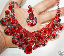 Red Rhinestone Austrian Crystal Choker Necklace Earring Set Pageant  Drag