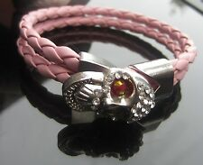 Faux Pink Braided Leather Cord 4 mm Cord Bracelet with SP Skull Clasp
