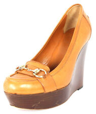 GUCCI Camel Tan Leather Gold Horsebit High-Heel Platform Wedges 7.5