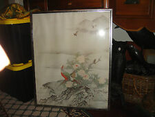 Superb Japanese Or Chinese Painting Of Birds Of Paradise-Framed-Large-Detailed