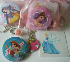 DISNEY PRINCESS THEME GIRLS PARTY BAG FILLER NECKLACE TATTOO BADGE RING GIFT