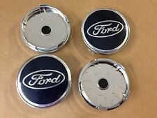 Set of 4 Ford Blue Alloy Centre Cap Hub 60mm face & 57mm Clip Fiesta Focus