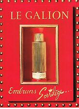 PUBLICITE ADVERTISING 054  1960  LE GALION  parfum  EMBRUNS  SORTILEGE