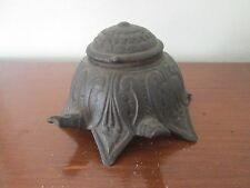 OLD METAL STOVE INKWELL Tortoise-like PATINA Art Nouv ~