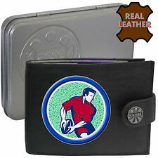Rugby Player Ball Klassek Mans Leather Wallet Rugby Accessory gift present Tin