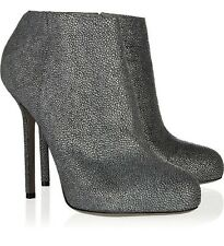 $885 SERGIO ROSSI BARBIE ANKLE BOOTS SHAGREEN LEATHER GRAY BOOTIES 39.5 / 9.5