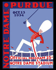 Notre Dame - Purdue Poster of Game Program Cover 1934 - 8x10 Color Photo