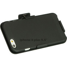 """iPHONE 6 Plus 5.5""""  Slim Shell Holster Case Cover with Belt Clip - Black + SP"""