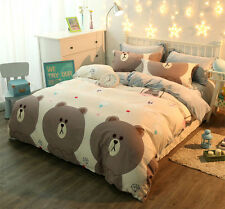 Naver Line App Character  BROWN Light Brown Color QUEEN SIZE 4pc BED SHEET Set