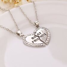 2pcs Crystal Half Love Heart Pendant Alloy Best Friends Necklace Friendship Gift