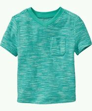 AUTH. BNWT OLD NAVY MICRO-STRIPE V-NECK TEES FOR BABY BOYS (12-18 MOS.), JADE