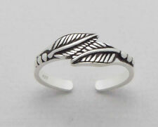 TJS 925 Sterling Silver Double Leaf Solid Leaves Toe Ring Adjustable Jewellery