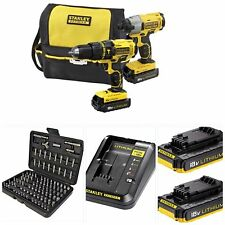 STANLEY FATMAX 18v CORDLESS LITHIUM TWINPACK COMPLETE KIT X1 IMPACT X1 COMBI